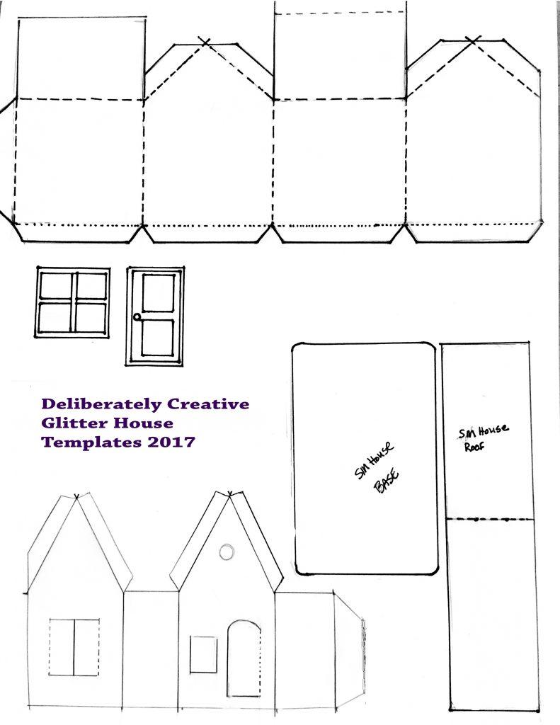 black line master template for little card stock houses