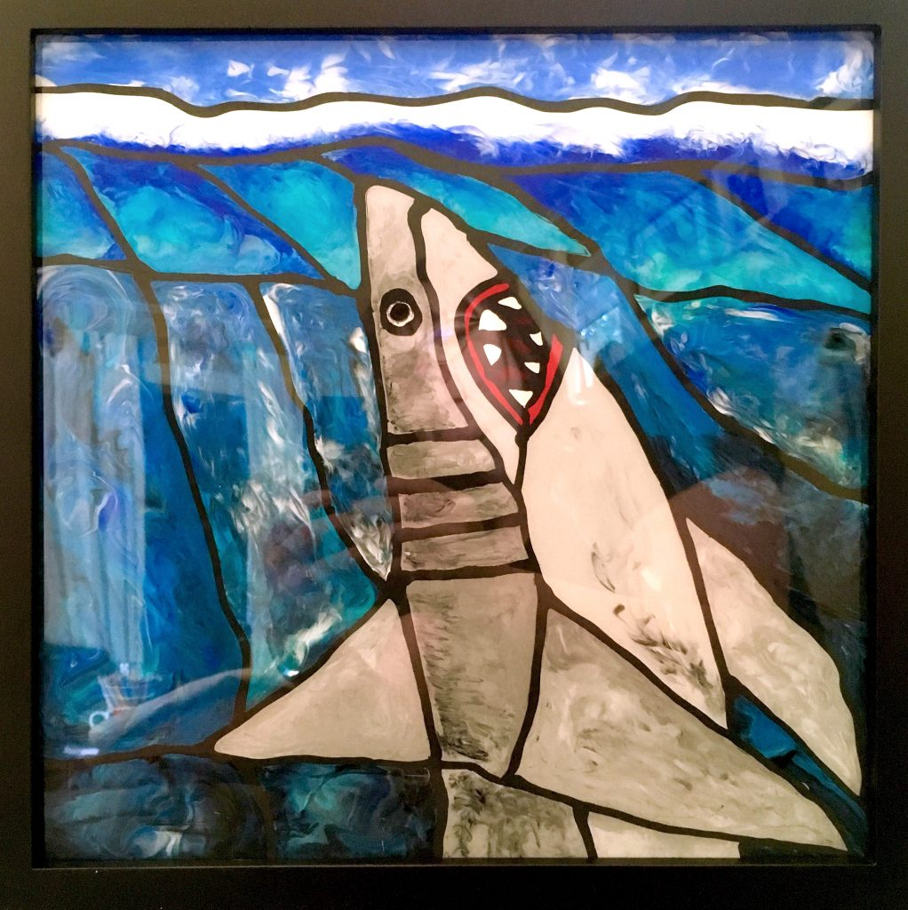 Poured Acrylic Faux Stained Glass Free Shark Pattern and Paint ...