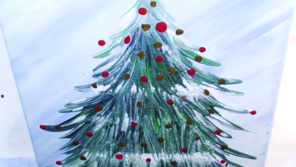 Fluid acrylic puddle poured christmas tree with glitter