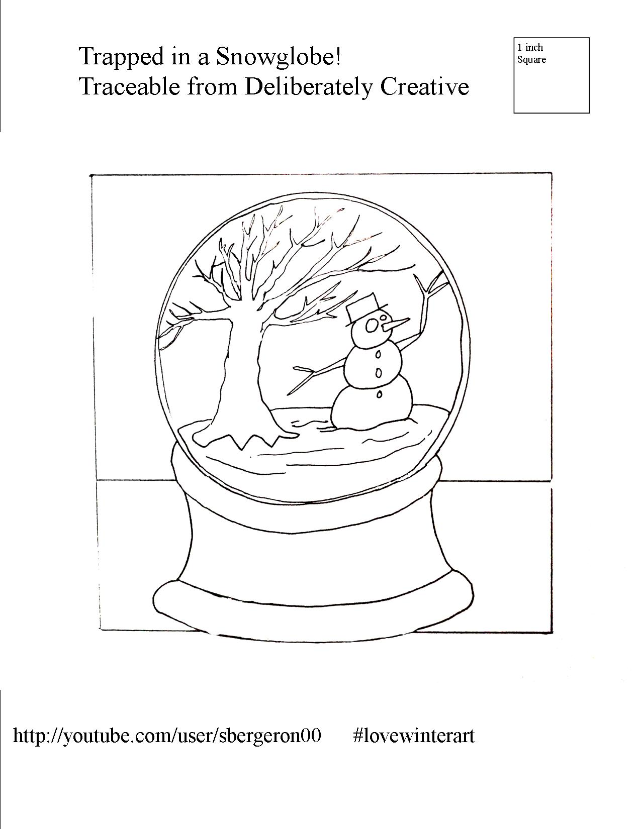 snowman snow globe coloring sheet painting template