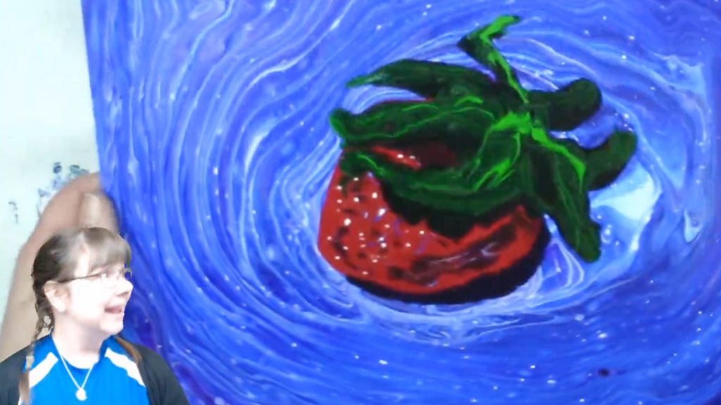 Painting of a bright red strawberry splashing in swirled blue and white water