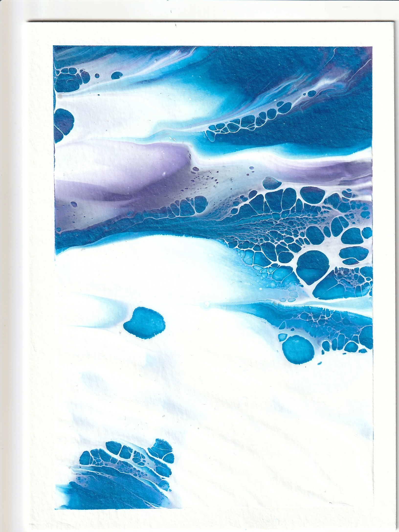 Blue and Purple with White Abstract acrylic painting